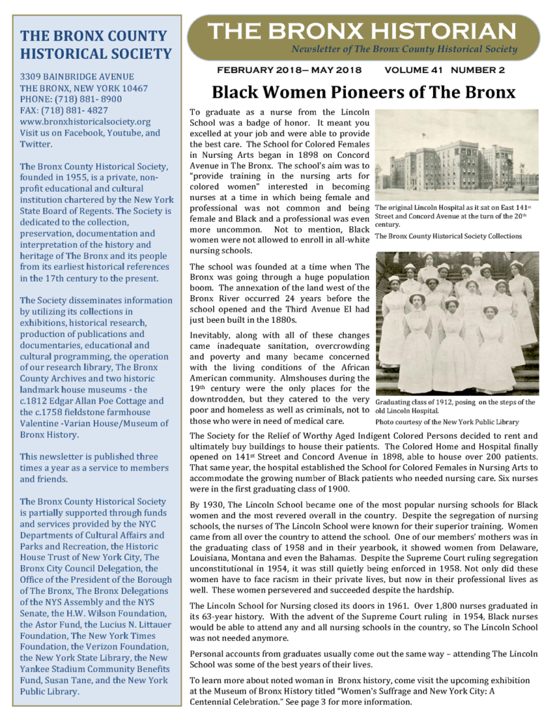 Check Out Our Latest Newsletter, The Bronx Historian