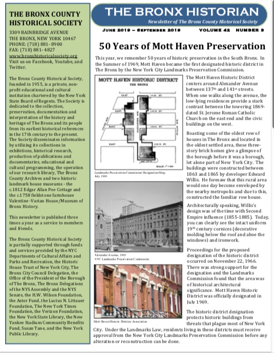 Latest Newsletter of The Bronx County Historical Society